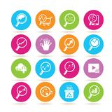 Data analytics icons. Set of 16 data analytics icons in colorful buttons vector illustration