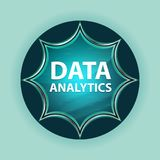 Data Analytics magical glassy sunburst blue button sky blue background royalty free stock photography