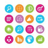 Data analytics and network icons Stock Image