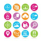 Data analytics and network icons. Set of 16 data analytics and network icons in colorful buttons royalty free illustration
