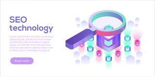 Data analytics platform isometric vector illustration. Abstract. 3d hosting server or data center room background. Network or mainframe infrastructure website Royalty Free Stock Image