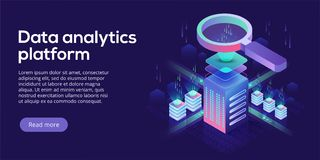 Data analytics platform isometric vector illustration. Abstract. 3d hosting server or data center room background. Network or mainframe infrastructure website Royalty Free Stock Photos