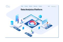 Data analytics platform isometric vector illustration.People interacting with charts and analyzing statistics. Data vector illustration