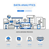 Data analytics report mining banner flat line art vector icons Stock Photography