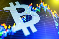 Data analyzing in exchange stock market: the candle chars on dis. Play. Analytics price change cryptocurrency BTC to USD & x28;Bitcoin / US Dollar& x29;, the Stock Images