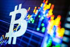 Data analyzing in exchange stock market: the candle chars on dis. Play. Analytics price change cryptocurrency BTC to USD & x28;Bitcoin / US Dollar& x29;, the Stock Image