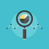 Data analyzing flat icon illustration. Marketing data analytics, analyzing statistics chart, magnifying glass with stock market graph figures. Flat icon modern Stock Images