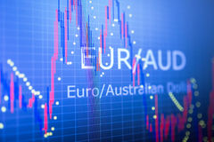 Data analyzing in foreign finance market: the charts and quotes. On display. Analytics in pairs EUR / AUD Stock Image