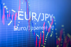 Data analyzing in foreign finance market: the charts and quotes Stock Photo