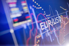 Data analyzing in foreign finance market: the charts and quotes. On display. Analytics in pairs EUR / USD Royalty Free Stock Photography
