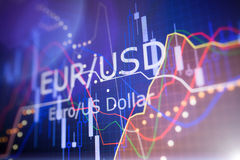 Data analyzing in foreign finance market: the charts and quotes. On display. Analytics in pairs EUR / USD Stock Photo