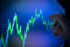 Data analyzing in forex market: the charts and quotes on display.  Royalty Free Stock Photo