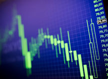 Data analyzing in forex market: the charts and quotes on display. The analysis of the chart of data on the display. Data analyzing in forex market: the charts Royalty Free Stock Images