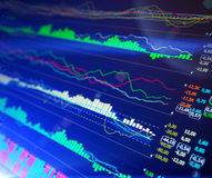 Data analyzing in forex market: the charts and quotes on display. The analysis of the chart of data on the display. Data analyzing in forex market: the charts Stock Photos