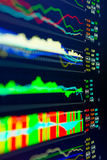 Data analyzing in forex market: the charts and quotes on display. The analysis of the chart of data on the display. Data analyzing in forex market: the charts Royalty Free Stock Photo