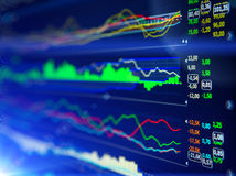 Data analyzing in forex market: the charts and quotes on display. Analytics U.S. dollar index DXYO Royalty Free Stock Image