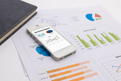 Data analyzing with smartphone Royalty Free Stock Photo