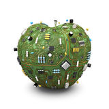 Data apple. 3D render of apple made of computer circuit board Stock Images