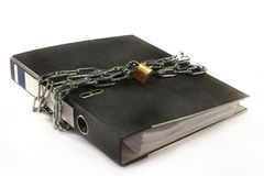 Data Backup. A file folder with a lock and chain Stock Images