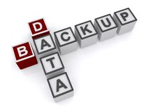 Data backup. Text 'data backup' inscribed in uppercase letters on small cubes, white background Stock Photos