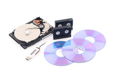 Data backup. Hdd, cassette, flash memory drive and data cd royalty free stock photos