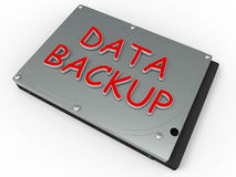 Data backup concept. 3D rendered illustration for the data backup concept. The composition makes use of a hard disk and the words data backup isolated on a white Stock Photos