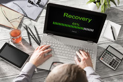 Data backup restoration recovery restore browsing plan network. Corporate networking reserve business concept - stock image Royalty Free Stock Image