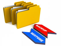 Data backup restore. Restore and backup operations concept with backup and restore text arrows with folders on white background stock illustration