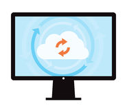 Data Backup Sync. This image is a vector file representing a cloud data backup sync concept vector illustration