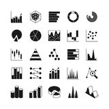 Data bar graphic and statistics charts vector icons. Growth line business diagram simple web symbols Royalty Free Stock Photography
