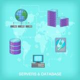 Data base concept global, cartoon style. Data base concept global. Cartoon illustration of data base vector concept for web Stock Photography