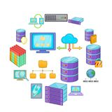 Data base icons set, cartoon style. Data base icons set. Cartoon illustration of 16 data base vector icons for web Royalty Free Stock Photo