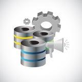 Data base storage megaphone alarm Stock Photography