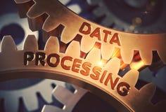 Data - bearbeta begrepp gears guld- illustration 3d royaltyfri illustrationer