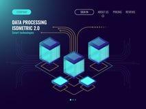 Data - bearbeta begreppet, serverrum, begrepp för vara värd för rengöringsduk, abstrakta teknologiobjekt, informationsflöde, moln stock illustrationer