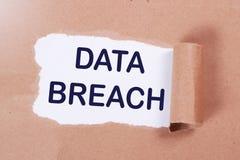 Data Breach, Internet Crime Words Concept. Data breach, internet crime words quotes typography lettering concept royalty free stock photography