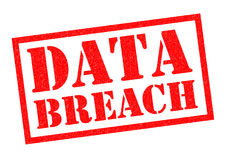 DATA BREACH. Red Rubber Stamp over a white background Royalty Free Stock Photos