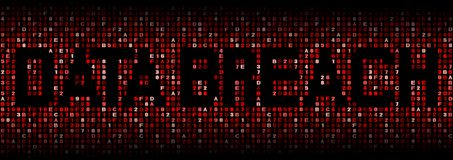 Data Breach text on hex code illustration. Data Breach text on abstract shades of red hex code background illustration Royalty Free Stock Images