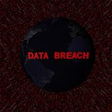 Data Breach text with earth by night and red hex code illustration. Elements of this image furnished by NASA Royalty Free Stock Images