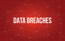 Data breaches white tetx illustration with red constellation map as background. Vector vector illustration