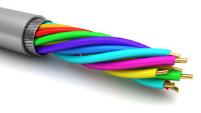 Data cable. 3d illustration of data cable over white background Royalty Free Stock Image