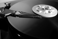 Data carrier. Opened Hard disk drive. Data storage medium royalty free stock photos