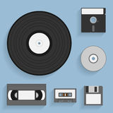 Data carriers icons. Set of flat style icons of vintage data carriers Royalty Free Stock Photography