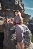 Data castana di posa di fascino del modello di moda romantica Immagini Stock
