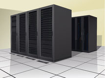 Data Center. Two rows of rack, or enclosures, containing computer equipment