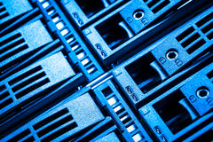 Data center. Close-up of hard drives in data center Royalty Free Stock Photography