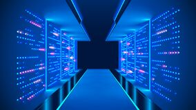 Free Data Center Abstract Background. Interior Of Server Room. Digital Information Warehouse. Web Hosting Technology. Computer Racks. Stock Photography - 213860492
