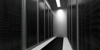 Data Center Aisle. A realistic data center aisle with ceiling, featuring a closed-loop cooling mechanism stock photography