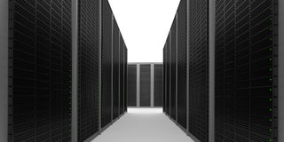 Data Center Aisle. A realistic data center aisle with no ceiling stock images