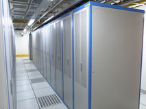 Data Center cabinets. A cabinet lineup in a data center Stock Photos